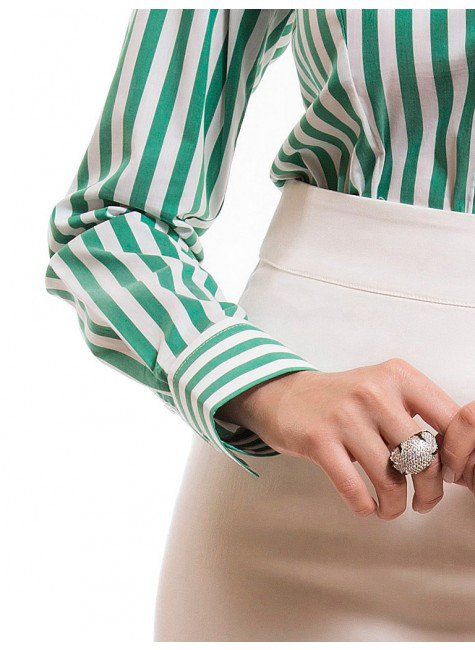 ... camisa social feminina listrada verde principessa shirley punho d4487648cd