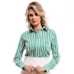 camisa feminina listrada verde principessa shirlene detalhe tecido