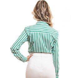 camisa feminina listrada verde principessa shirlene tecido modelagem