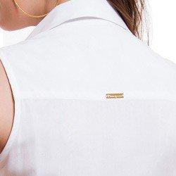 detalhe camisa social sem manga branca principessa pamela colarinho placa