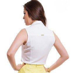 detalhe camisa social sem manga branca principessa pamela modelagem