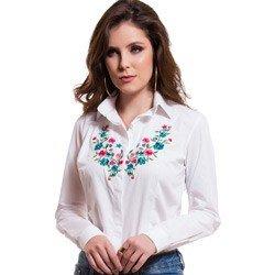 detalhe camisa branca feminina com bordado principessa lilian tecido modelagem