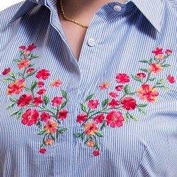 camisa social listrada com bordado floral principessa mirela detalhe bordado
