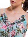 vestido feminino floral turquesa principessa marilis elastico cintura babado