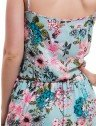 vestido feminino floral turquesa principessa marilis elastico cintura costa