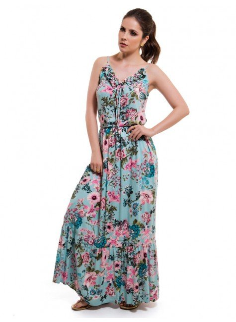 vestido feminino floral turquesa principessa marilis elastico cintura look
