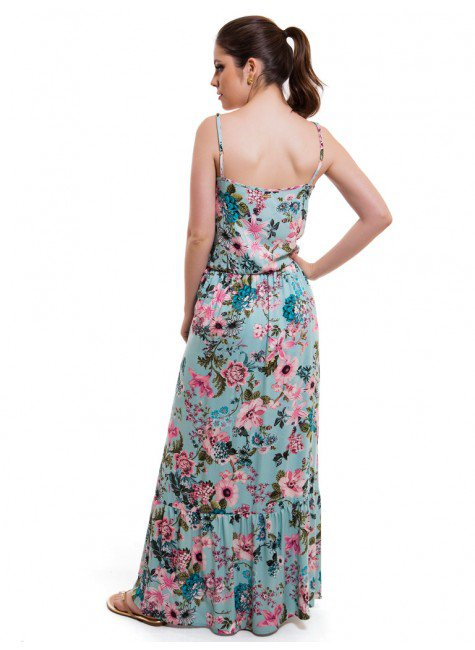 31fd34a2f ... vestido feminino floral turquesa principessa marilis elastico cintura  look costa ...