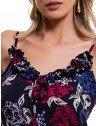 vestido longo floral marinho principessa leila babado