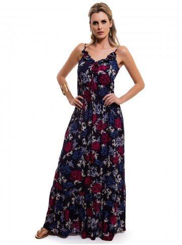 vestido longo floral marinho principessa leila babado look