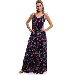 vestido longo floral marinho principessa leila detalhe modelagem