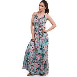 vestido longo floral turquesa principessa marilis detalhe look