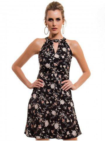 vestido floral preto principessa ana laura look