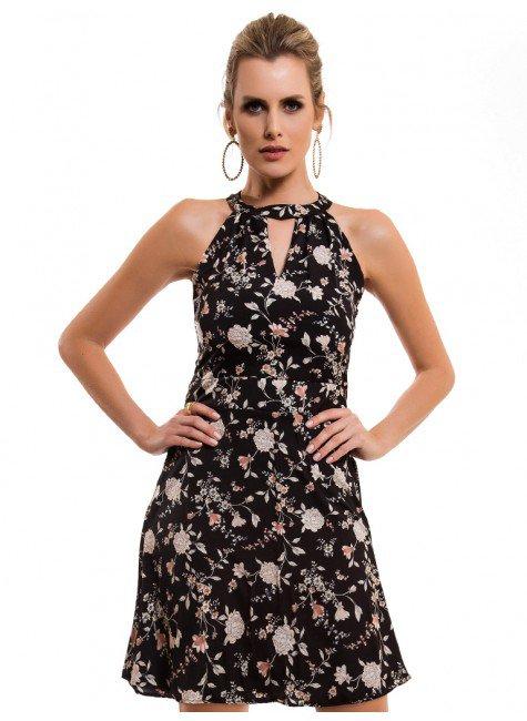 Vestido floral preto curto