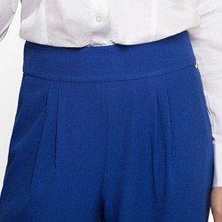 calca pantalona feminina azul royal principessa greci detalhe prega