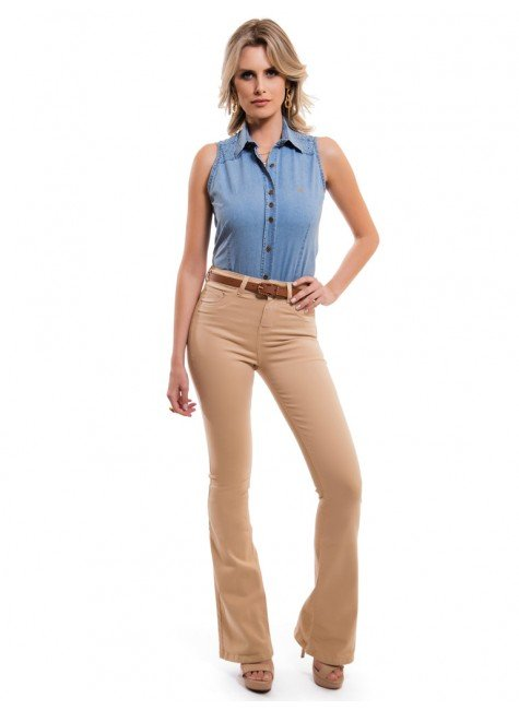 ... camisa jeans sem manga feminina principessa isadora look completo ... 6937f5962f7f5