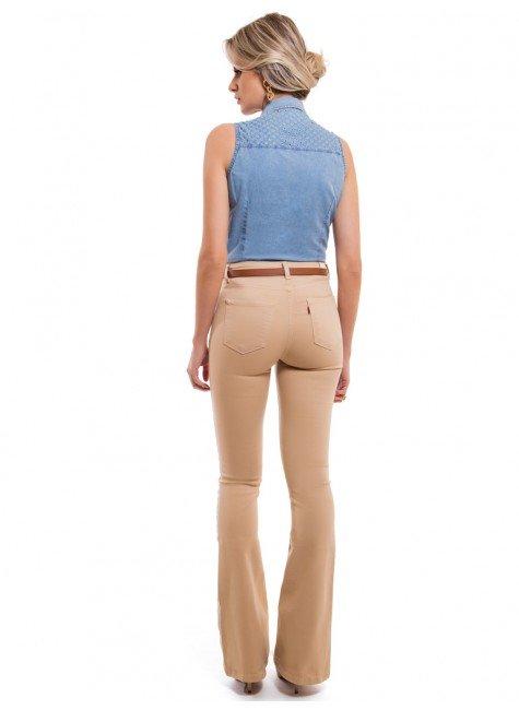 ... camisa jeans sem manga feminina principessa isadora look completo costa  ... 10f43b36a620b