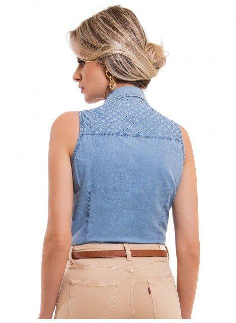 ... camisa jeans sem manga feminina principessa isadora look costa ... e58cc2d316666