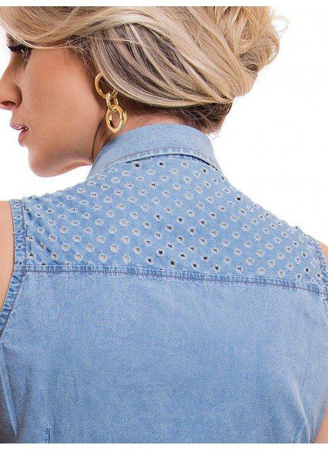 ... camisa jeans sem manga feminina principessa isadora recortes costa ... 3f458d35432e5