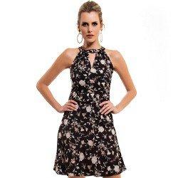 vestido preto floral principessa ana laura detalhe