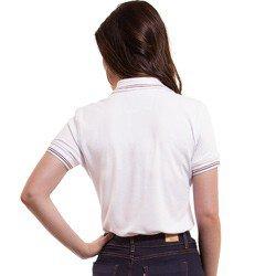 camisa polo branca feminina principessa kerin detalhes modelagem