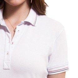 camisa polo branca feminina principessa kerin detalhes punho