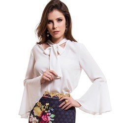 blusa gola de laco manga flare off white principessa megan modelage m
