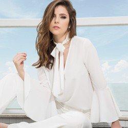 blusa gola de laco manga flare off white principessa megan tecido