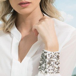 camisa off white com pedraria principessa graciani detalhe punho