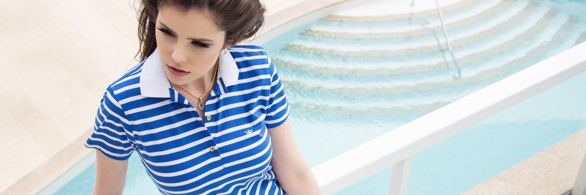 camisa polo listrada azul principessa mary banner conceito