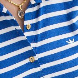 camisa polo listrada azul principessa mary detalhe aviamentos