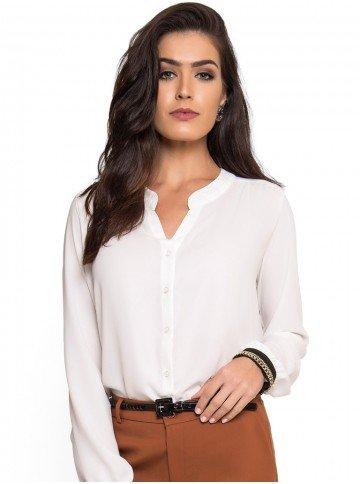 camisa aplicacao corrente punho off white principessa dirlene look