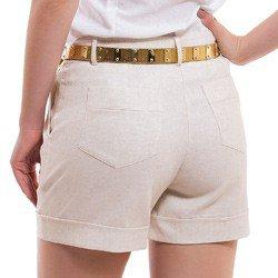 shorts social de linho principessa rosaura detalhe tecido