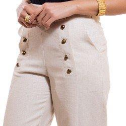 calca pantalona de linho principessa neusa detalhes botoes