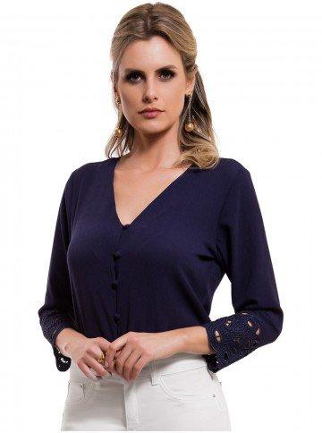 Camisa Feminina Marinho Bordado Richilieu Principessa Ruth