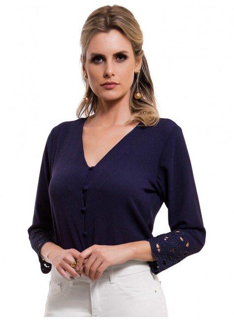 blusa feminina marinho bordado richilieu principessa ruth look
