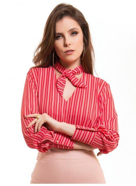 blusa feminina listrada gola de laco principessa noelise laco look
