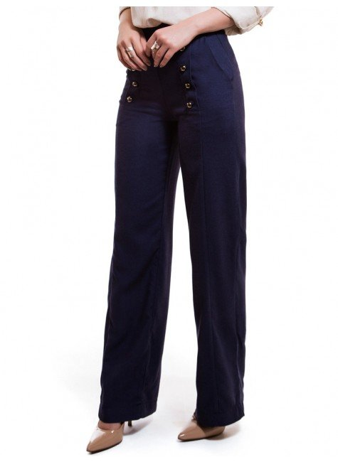 calca pantalona de linho marinho principessa thaina