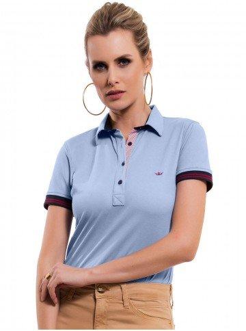 camisa polo feminina azul claro principessa melissa look 9bc95886d321a