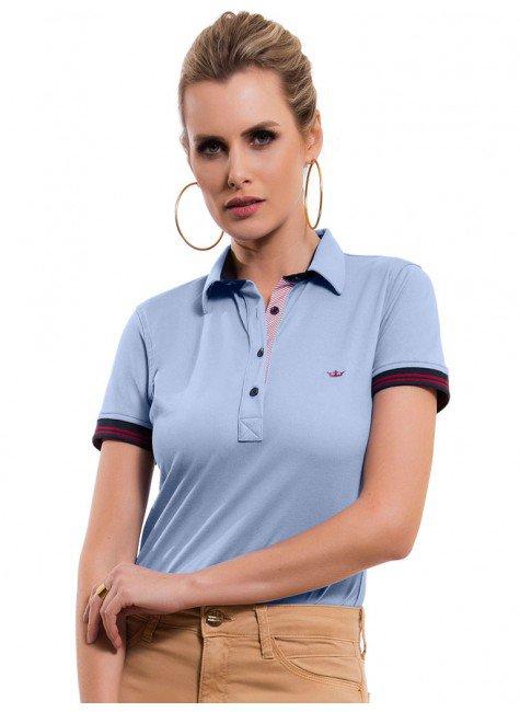 camisa polo feminina azul claro principessa melissa look