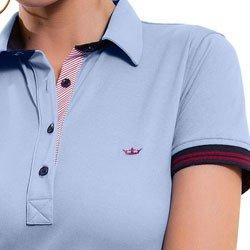 camisa polo azul claro principessa melissa detalhe gola