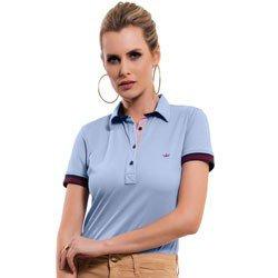 camisa polo azul claro principessa melissa detalhe malha