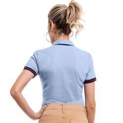 camisa polo azul claro principessa melissa detalhe modelagem