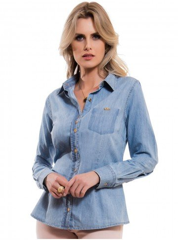 Camisa Feminina Jeans Claro Principessa Vanuza