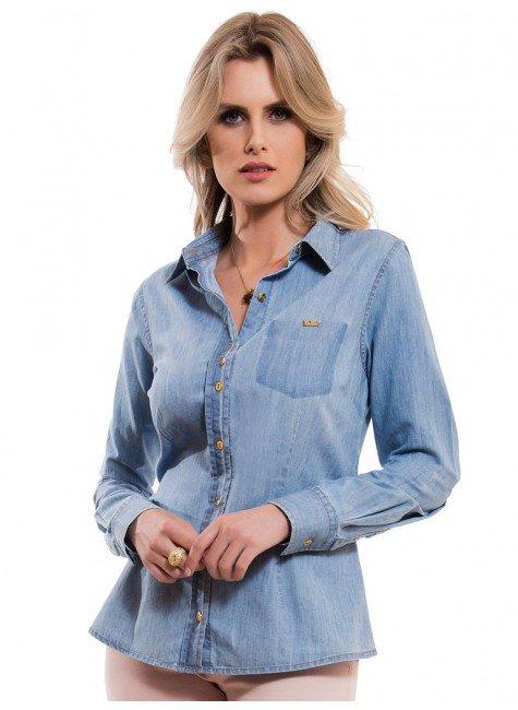 camisa feminina jeans claro principessa vanuza look