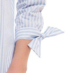 camisa ampla gola ecletica listrada principessa rosalia detalhes laco punho