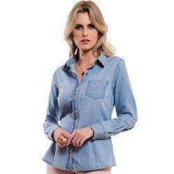 camisa jeans claro feminina principessa vauza aviamento dourado detalhe modelagem