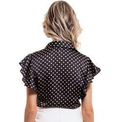 camisa manga gode de poa principessa sheila detalhe modelagem
