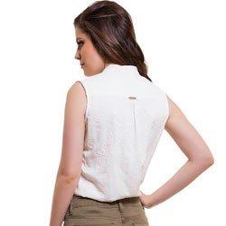 camisa bordada sem manga principessa tailin detalhe modelage