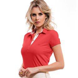 camisa polo laranja feminina principessa bentha detalhe look
