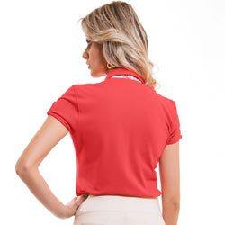 camisa polo laranja feminina principessa bentha detalhe modelagem
